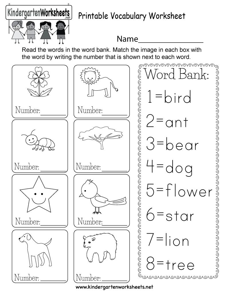 medium resolution of Printable Vocabulary Worksheet - Free Kindergarten English Worksheet for  Kids