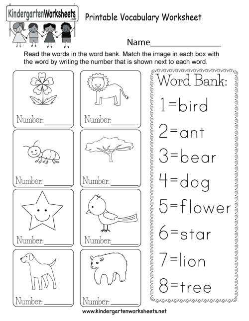small resolution of Printable Vocabulary Worksheet - Free Kindergarten English Worksheet for  Kids