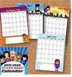 FREE Girl Printable Superhero Calendar 2020 - 2021 [ 958 x 972 Pixel ]