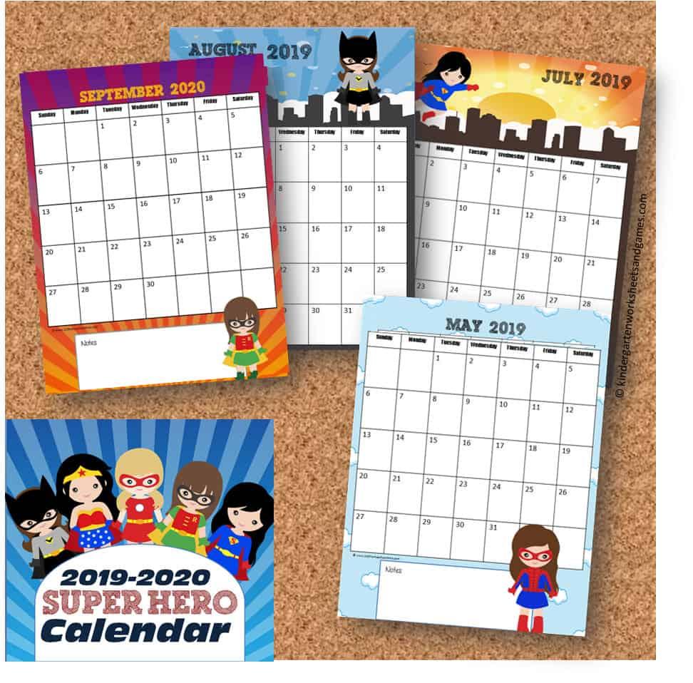 hight resolution of FREE Girl Printable Superhero Calendar 2020 - 2021