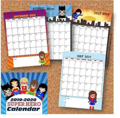 small resolution of FREE Girl Printable Superhero Calendar 2020 - 2021