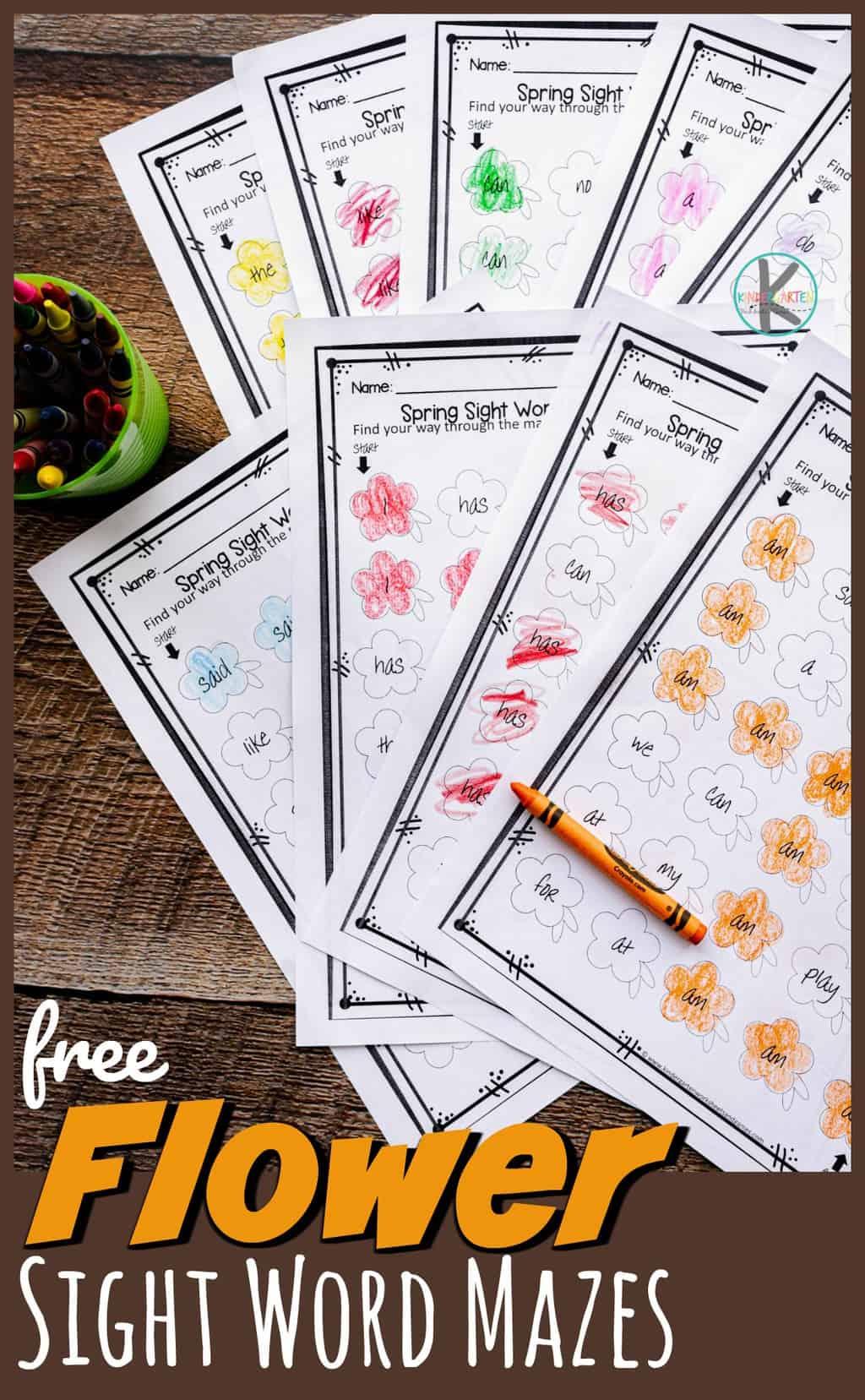 Free Flower Sight Word Maze