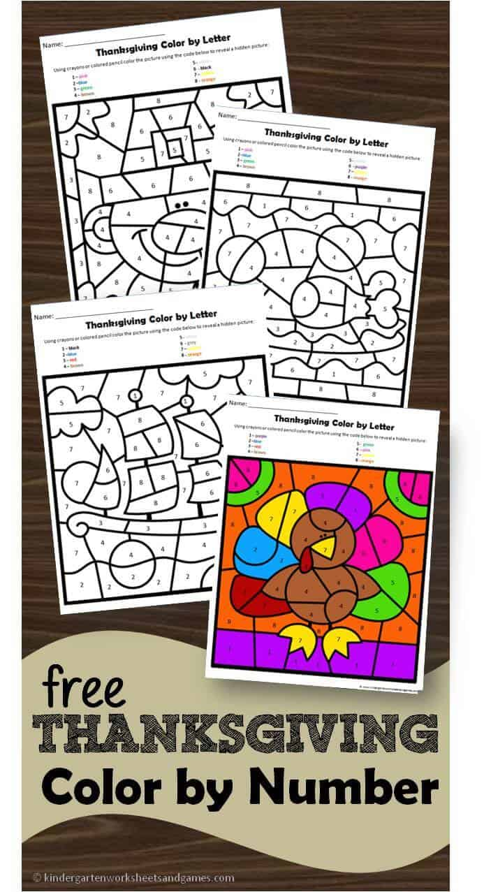 medium resolution of FREE Thanksgiving Color by Number