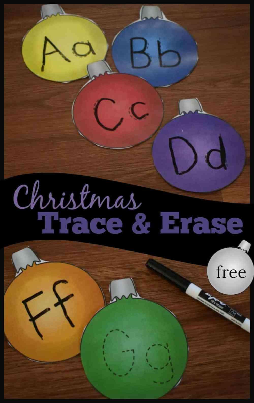 medium resolution of FREE Christmas Letter Tracing Printables - Alphabet Ornaments Trace \u0026 Erase