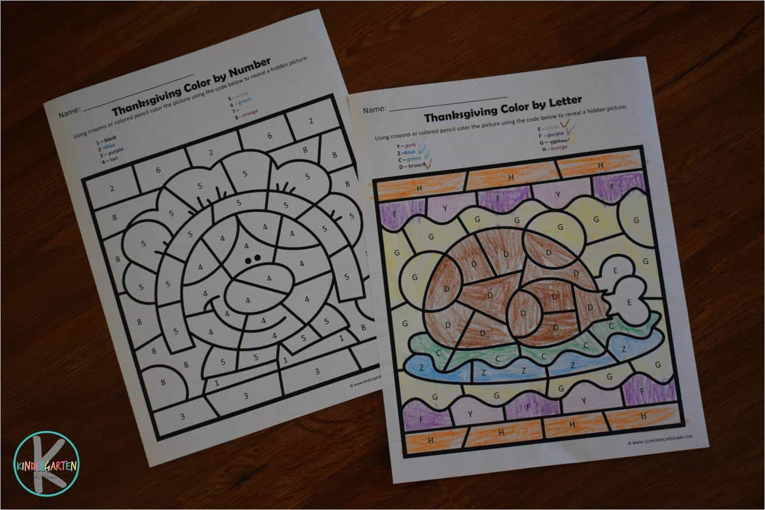 Free Thanksgiving Color By Number