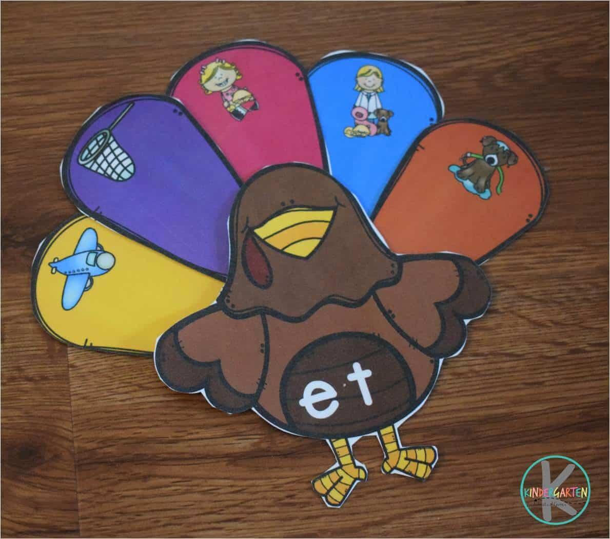Turkey Word Families Sort Kindergarten Worksheets And Games