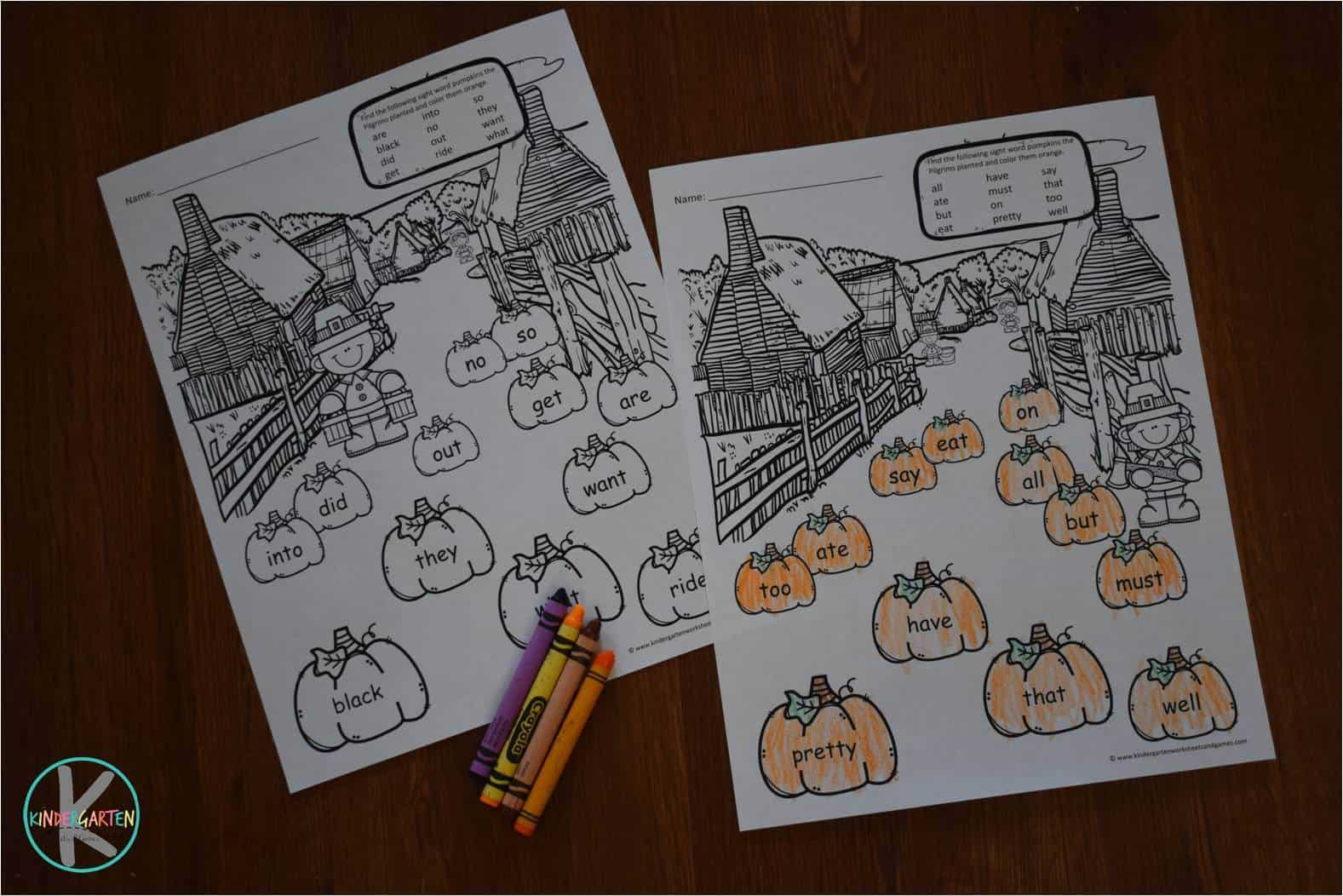 Thanksgiving Sight Words Coloring Pages Kindergarten