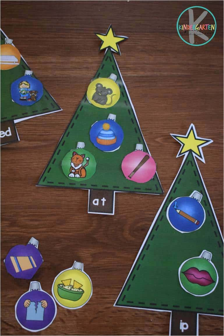 hight resolution of Word Family Christmas Trees