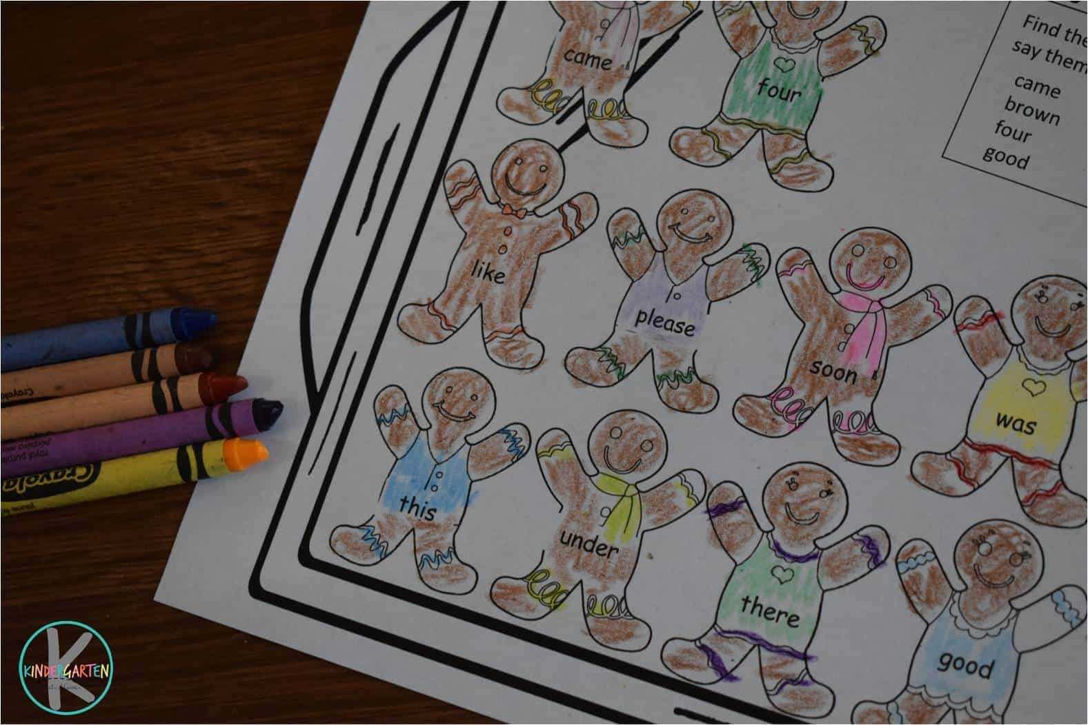 Gingerbread Sight Word Coloring Sheets