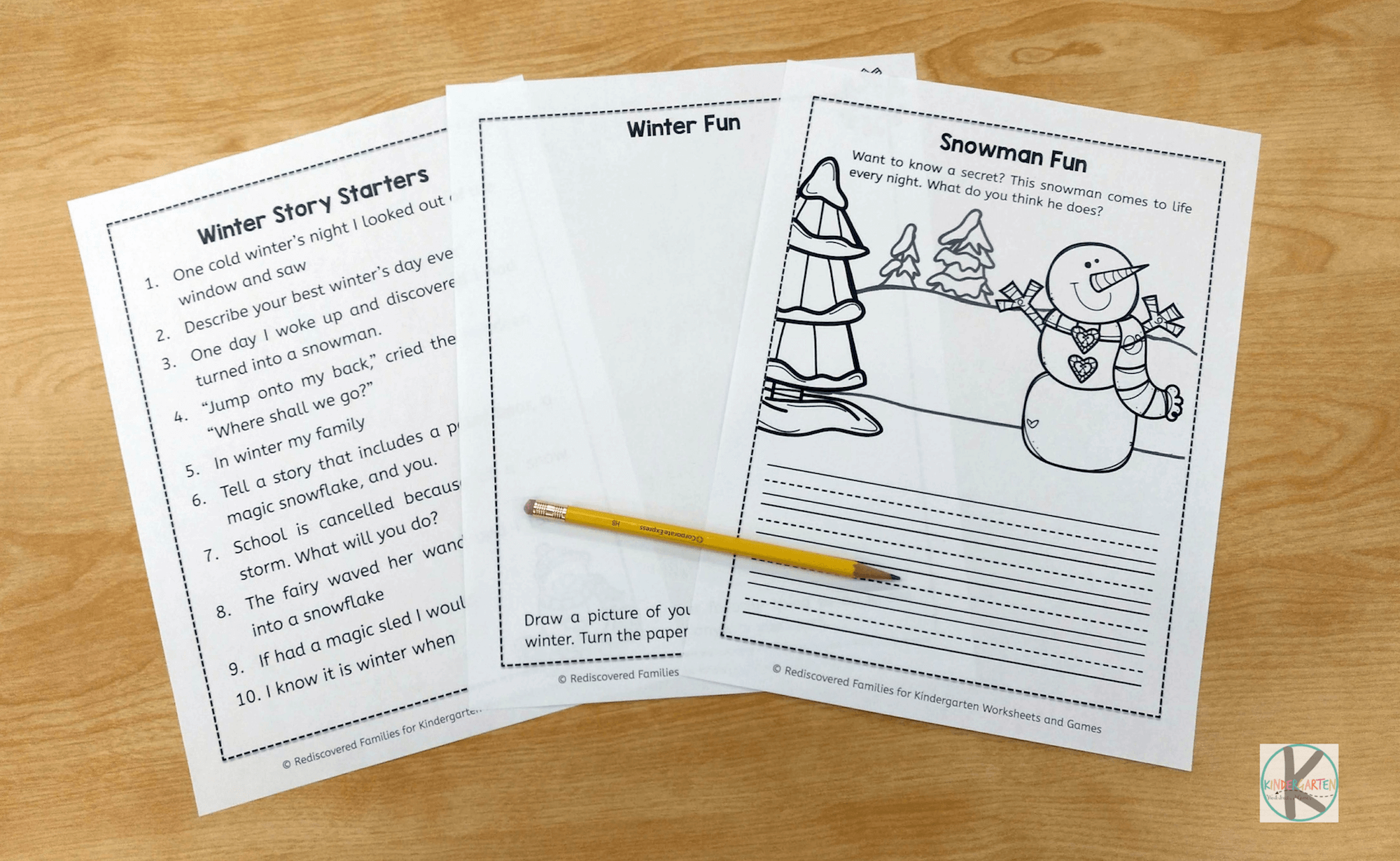 Free Winter Writing Prompts Kindergarten