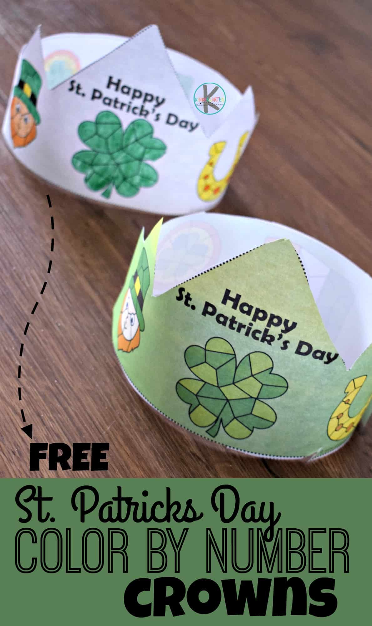 Free St Patricks Day Color By Number Crowns Kindergarten