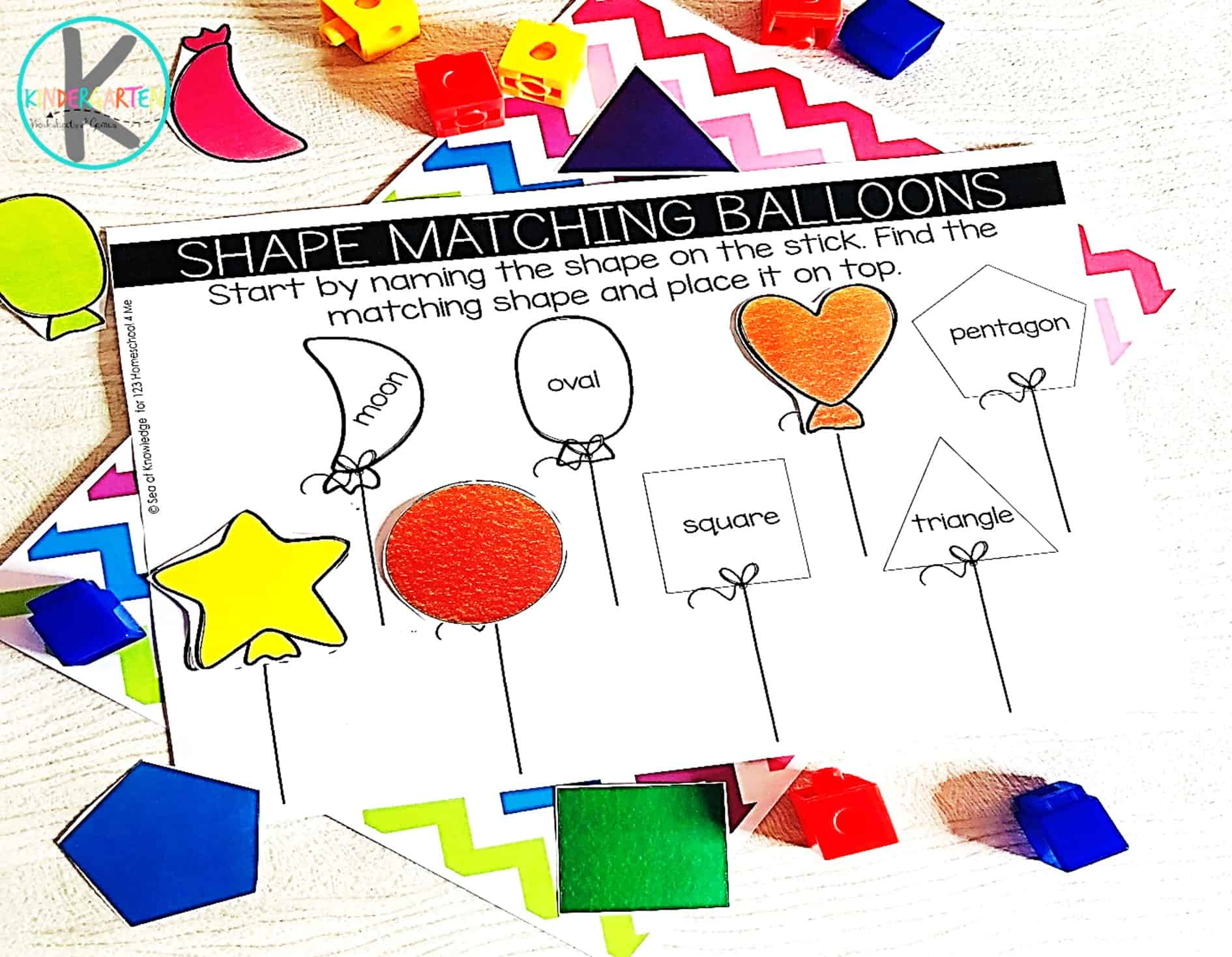 Balloon Shape Activity Kindergarten Worksheets And Games