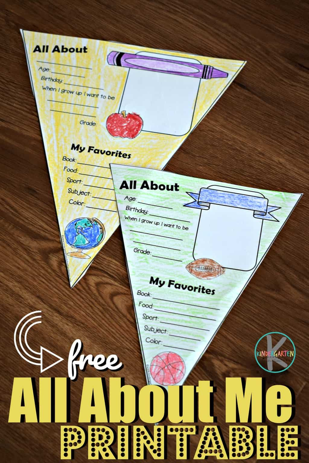 All About Me Printable Poster For Kindergarten