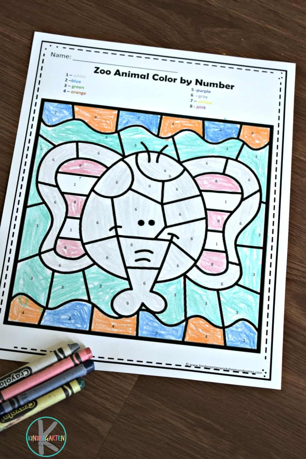 Free Zoo Animals Color By Number Worksheets For Kindergarten