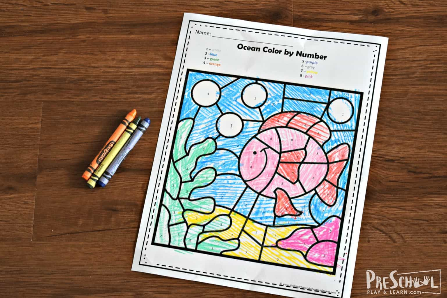 Ocean Color By Number Kindergarten Worksheets And Games