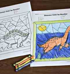 🦕 FREE Dinosaur Color by Number Worksheets [ 1024 x 1537 Pixel ]