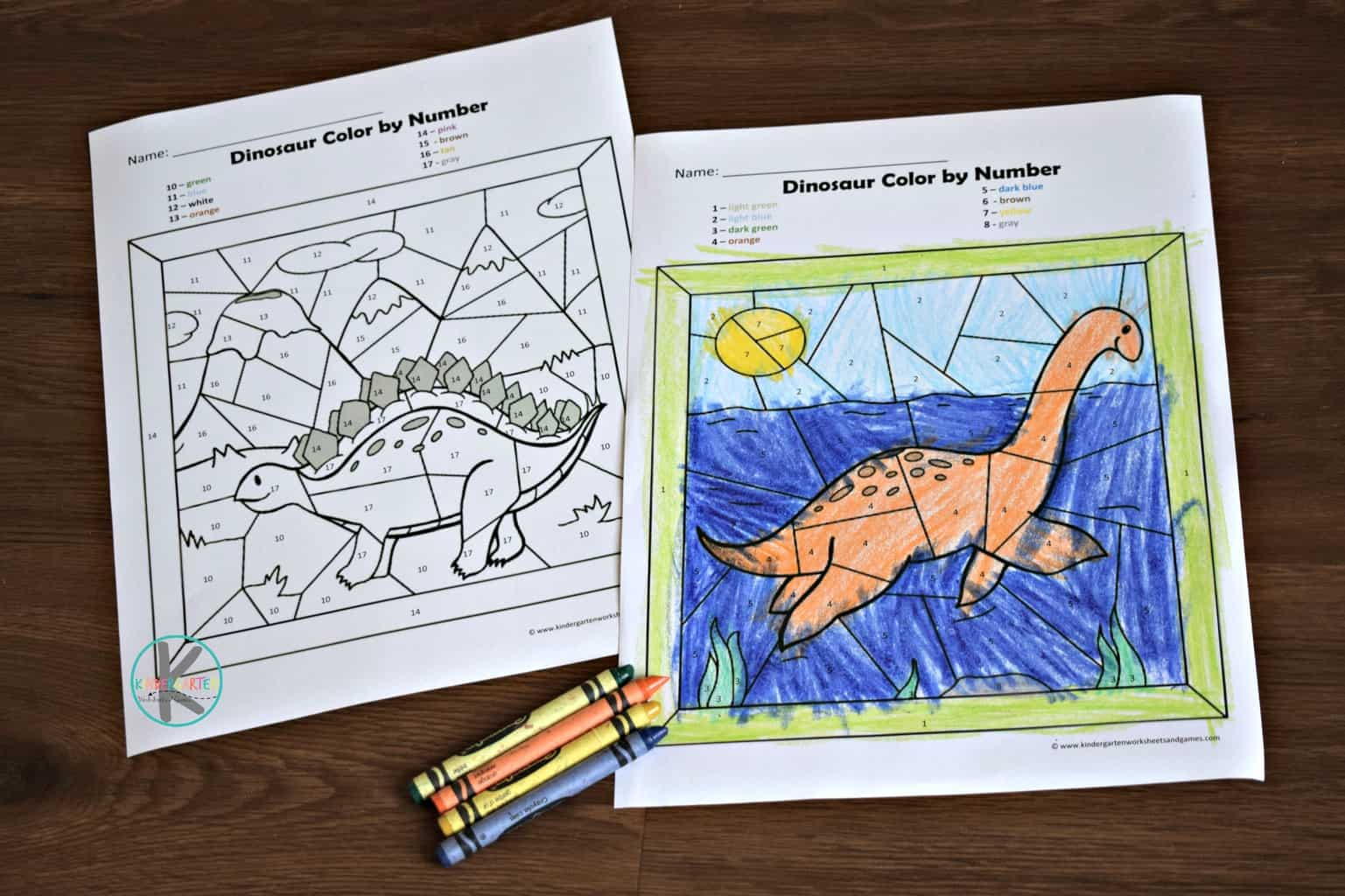 hight resolution of 🦕 FREE Dinosaur Color by Number Worksheets