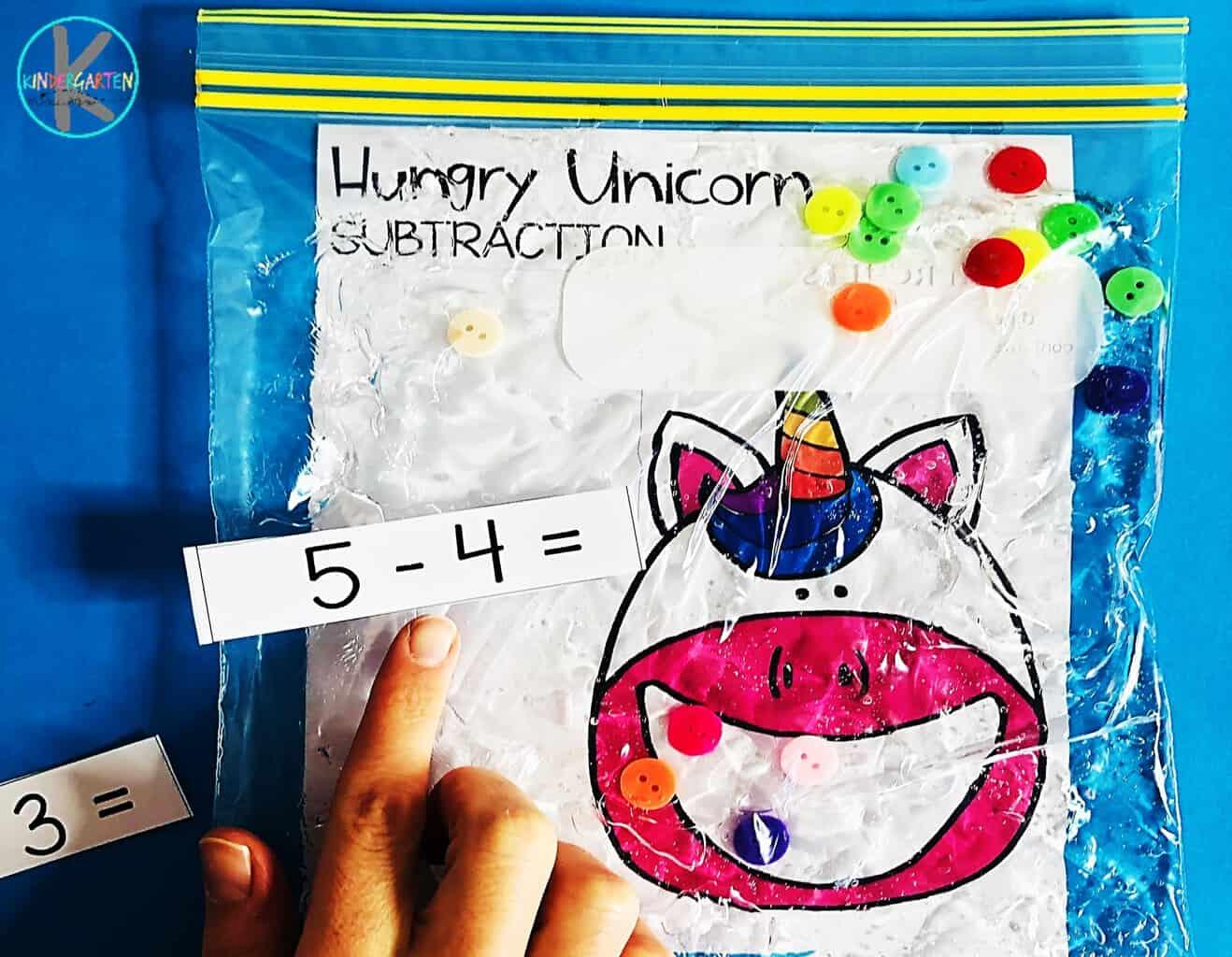 Hungry Unicorn Subtraction Sensory Bag