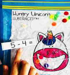 Hungry Unicorn Math – Subtraction Sensory Bag [ 1024 x 1318 Pixel ]