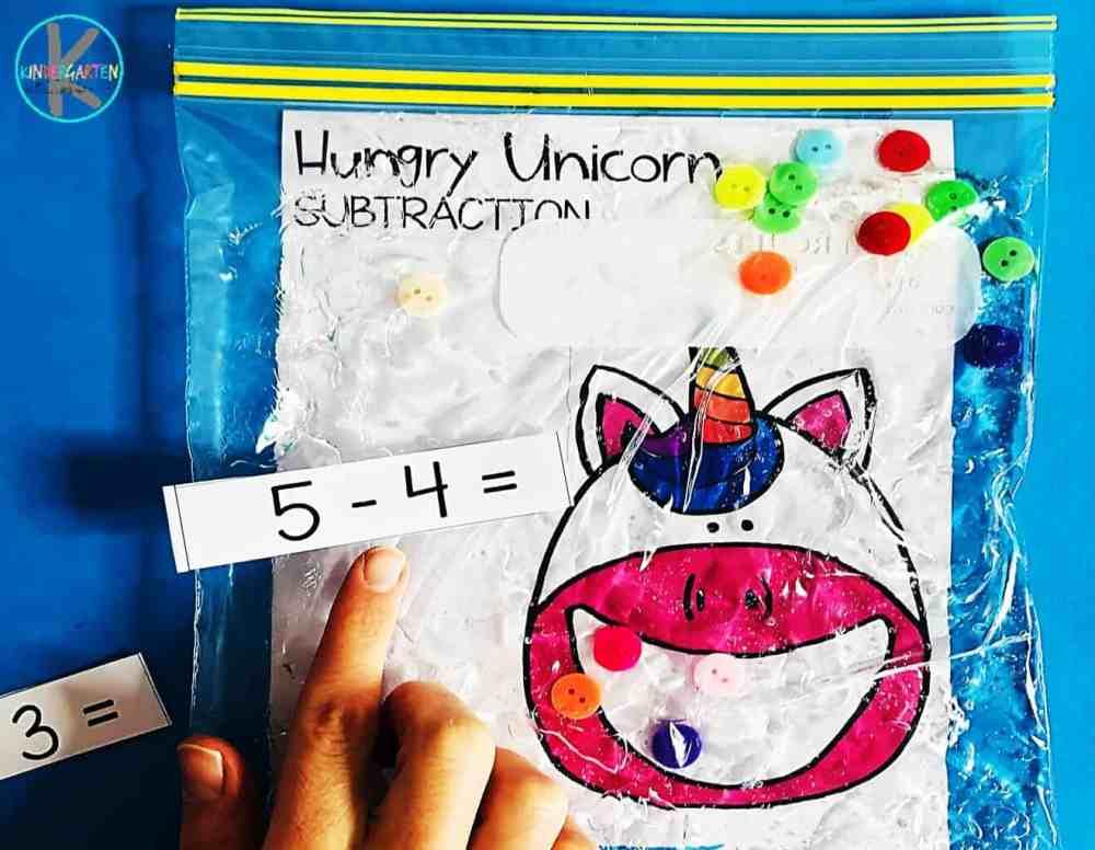 medium resolution of Hungry Unicorn Math – Subtraction Sensory Bag