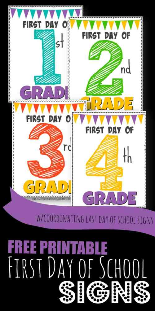 small resolution of FREE Printable First Day of School Signs