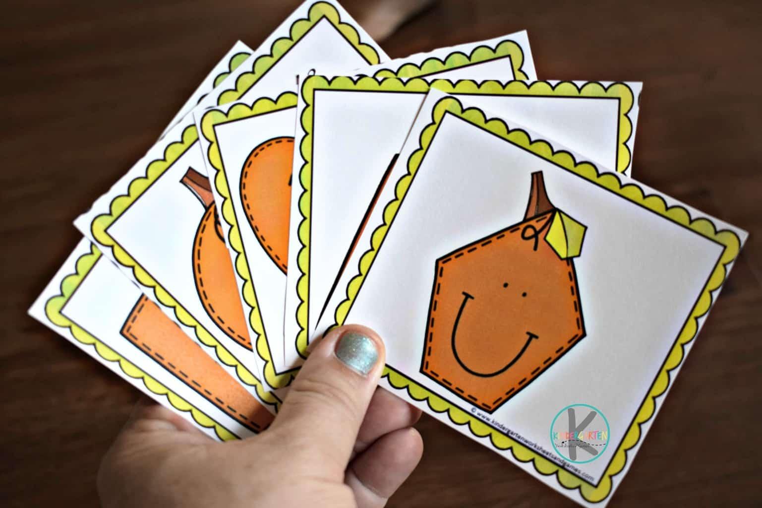 Pumpkin Shape Matching Game Kindergarten Worksheets And