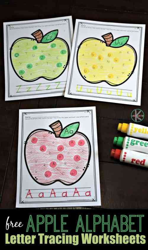 small resolution of Apple Find the Letter Tracing Worksheets