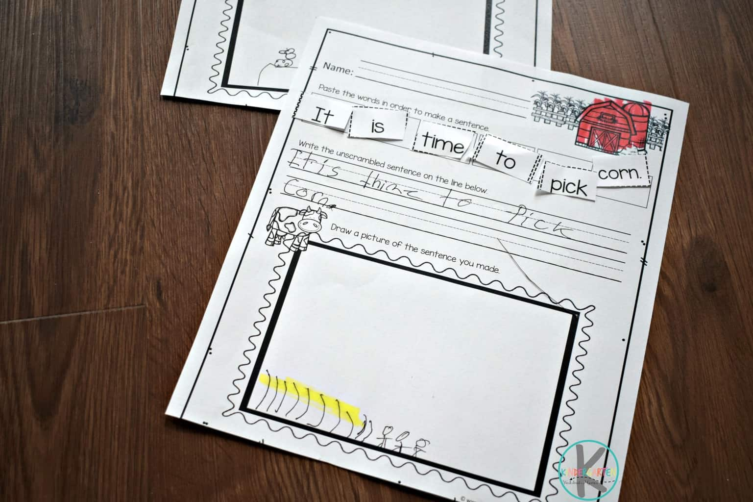 Farm Cut And Paste Sentence Worksheets