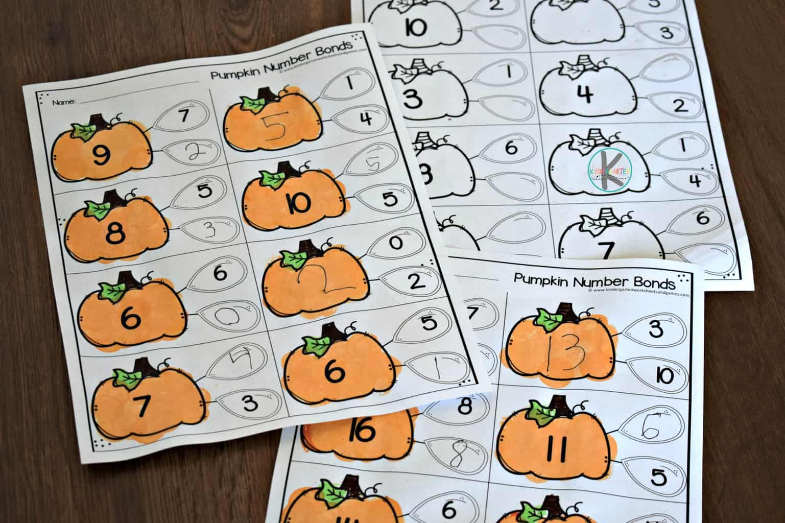 Pumpkin Number Bonds To 10 Worksheet Kindergarten