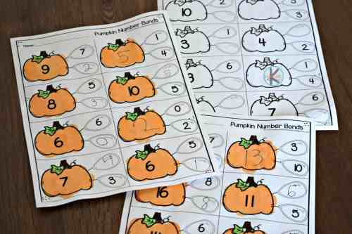 small resolution of FREE Pumpkin Number Bonds to 10 Worksheet
