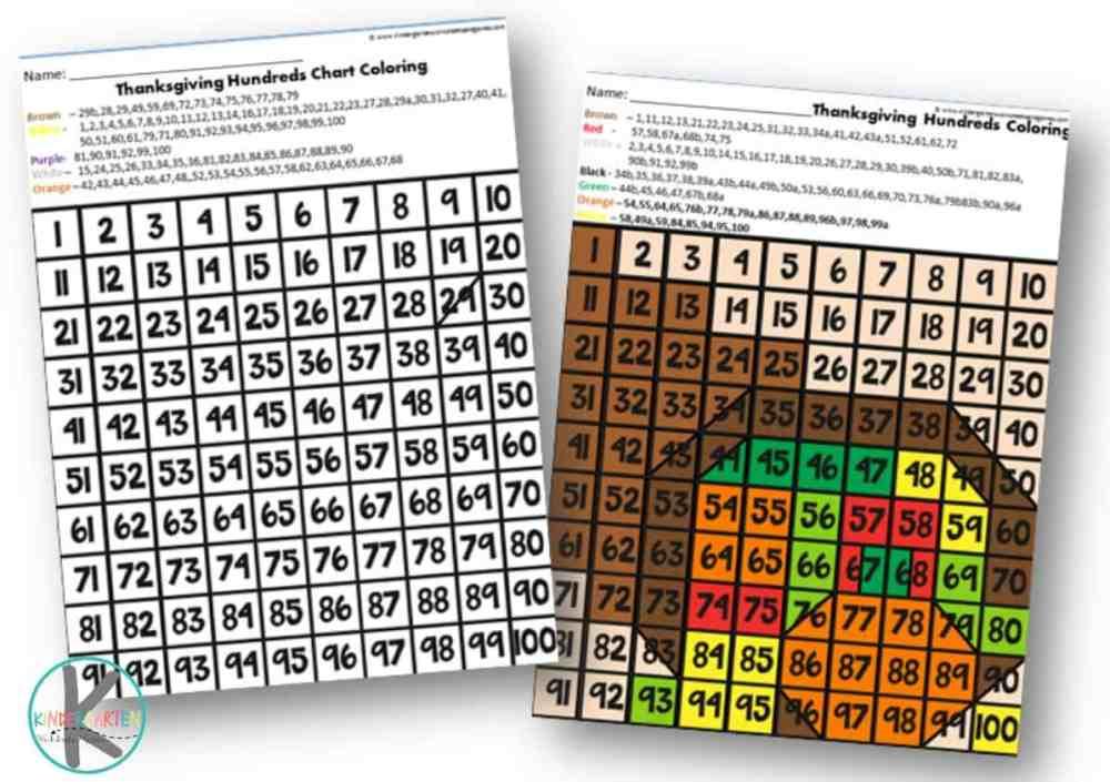 medium resolution of FREE Thanksgiving Hundreds Chart Coloring