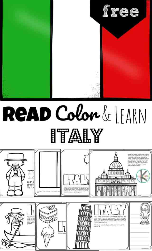 FREE Italy Coloring Pages - Read, Color & Learn