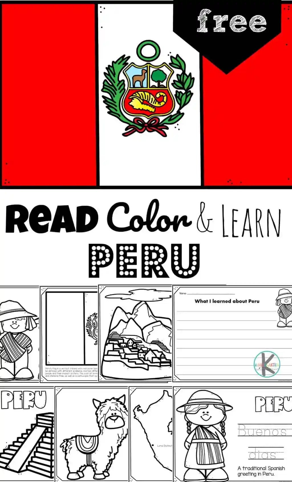 hight resolution of Read Color and Learn - PERU Coloring Pages