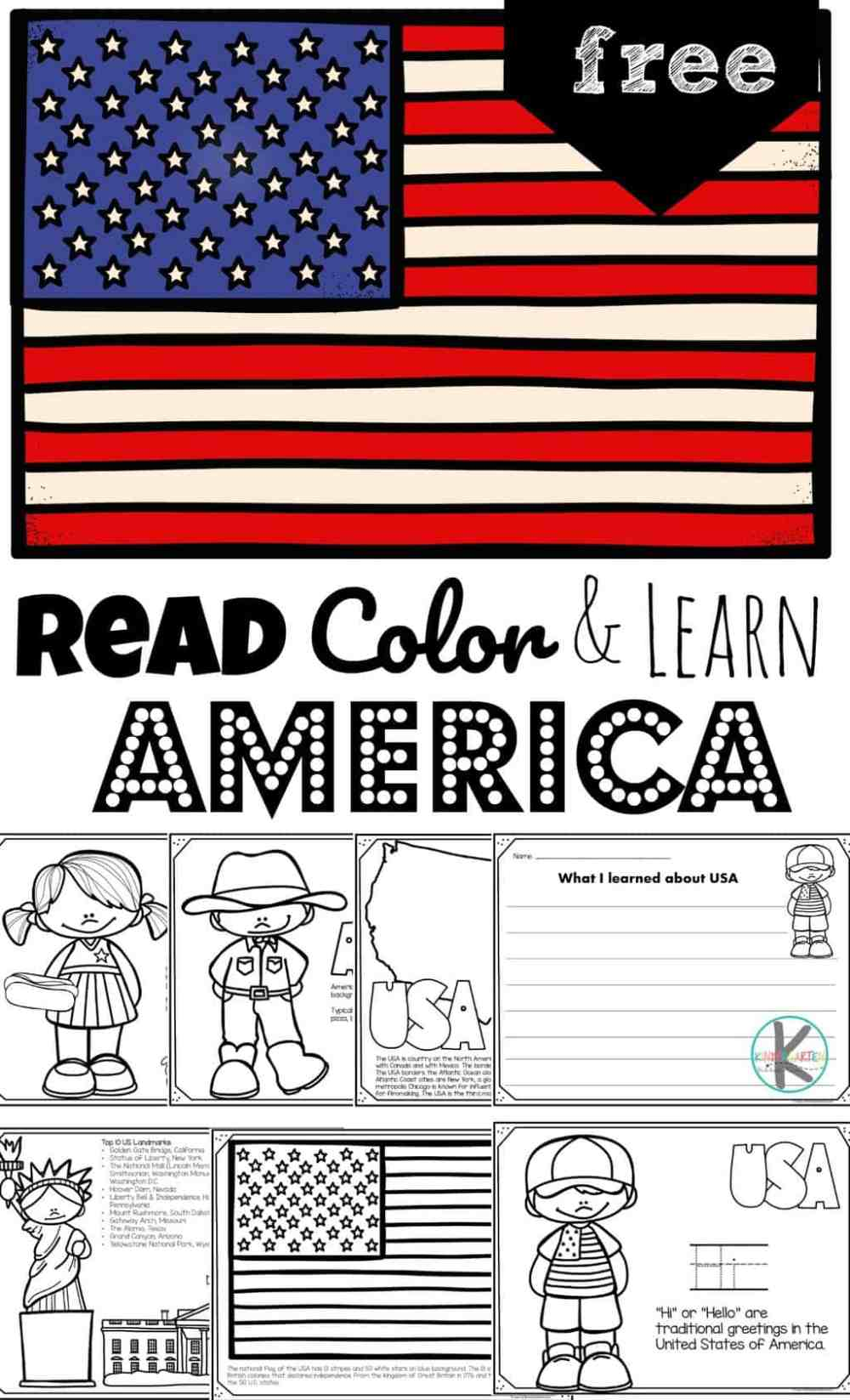 medium resolution of FREE Read Color and Learn about AMERICA