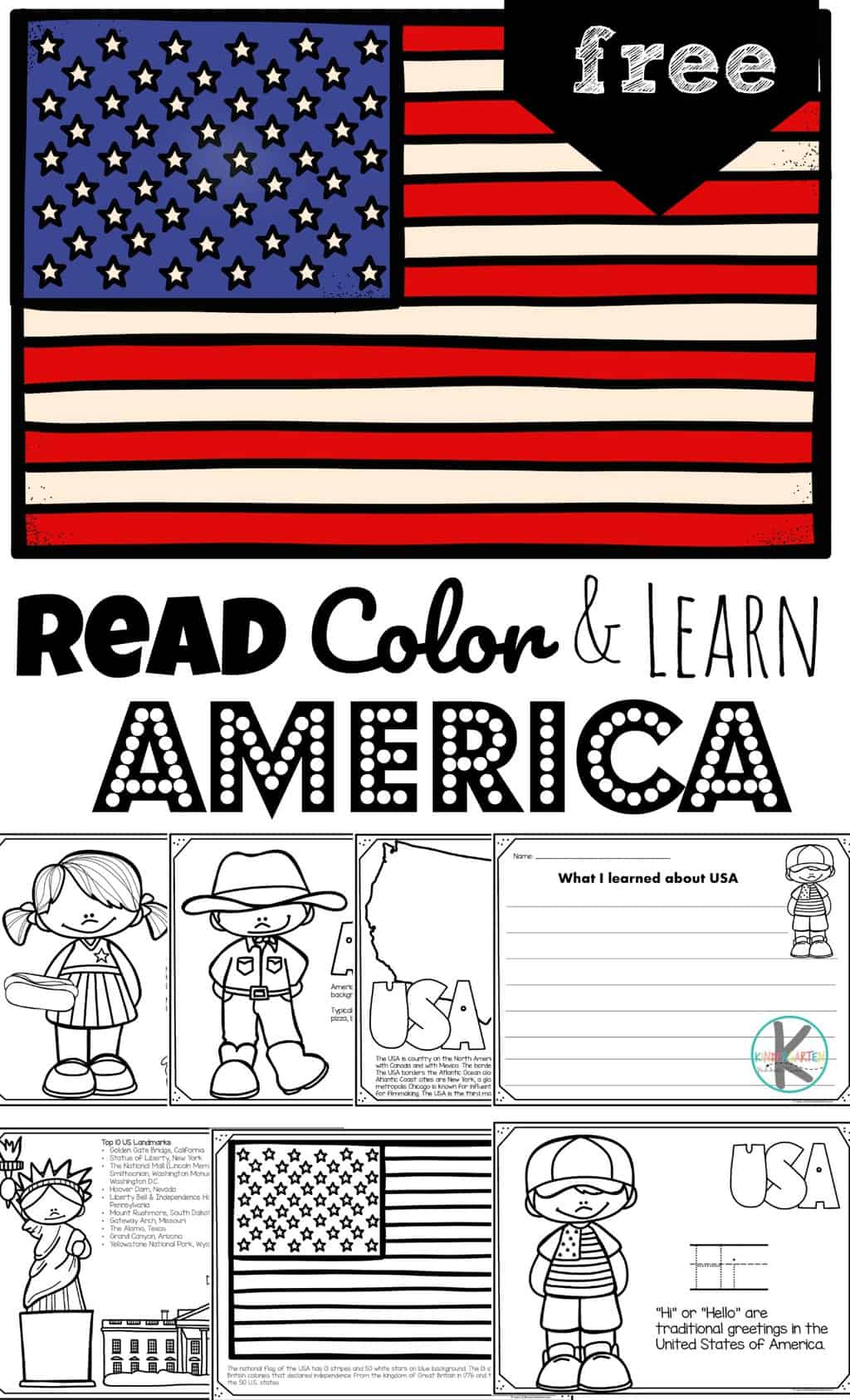 hight resolution of FREE Read Color and Learn about AMERICA