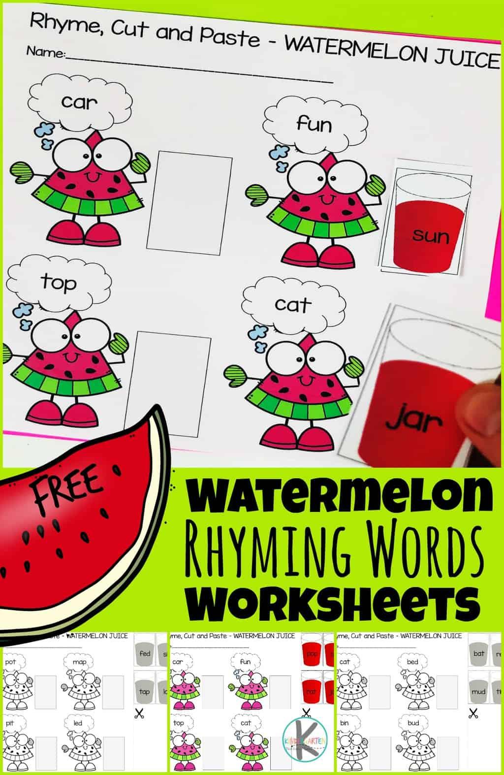 Free Watermelon Rhyming Words Worksheets