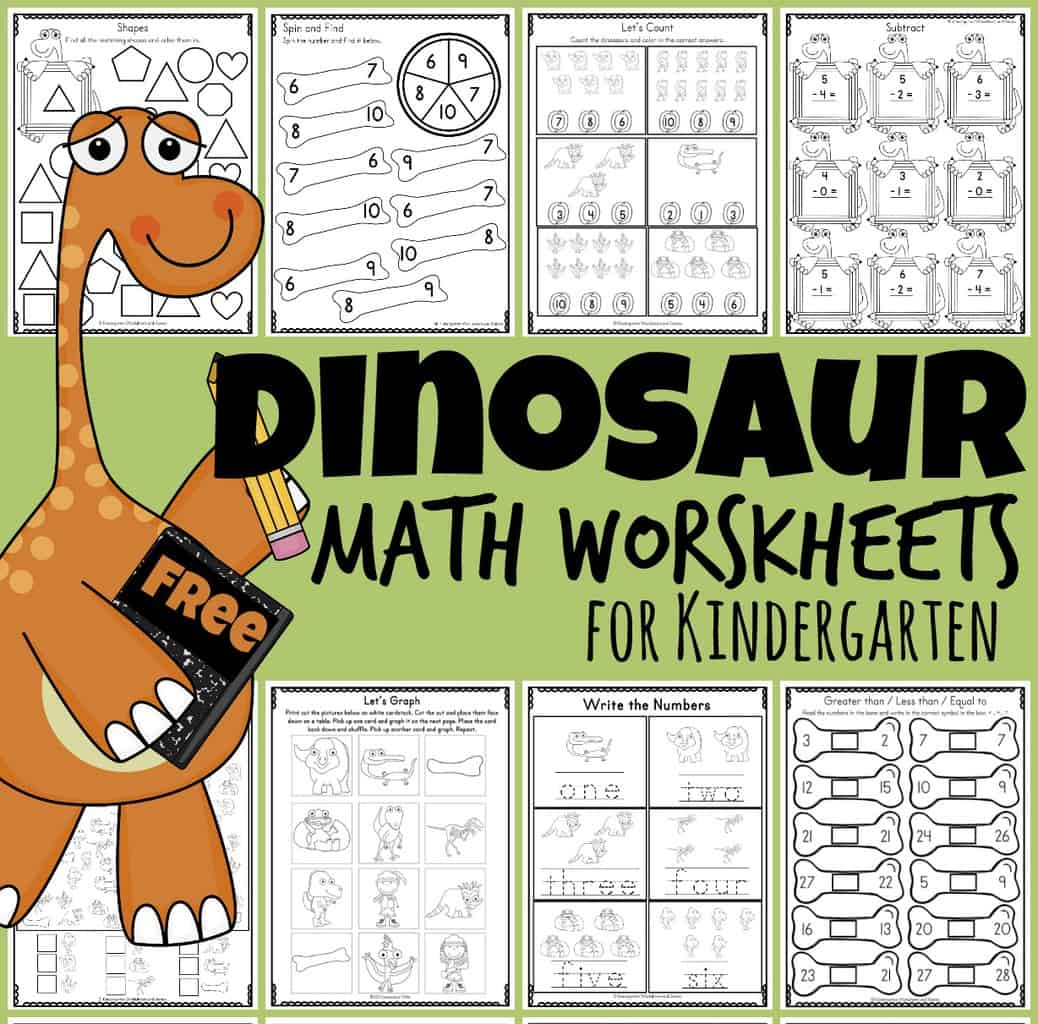 Free Dinosaur Math Worksheets For Kindergartners