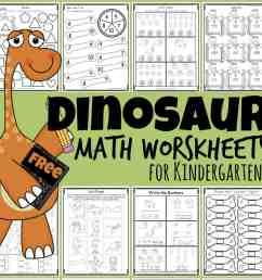 FREE Dinosaur Math Worksheets for Kindergartners [ 1024 x 1038 Pixel ]