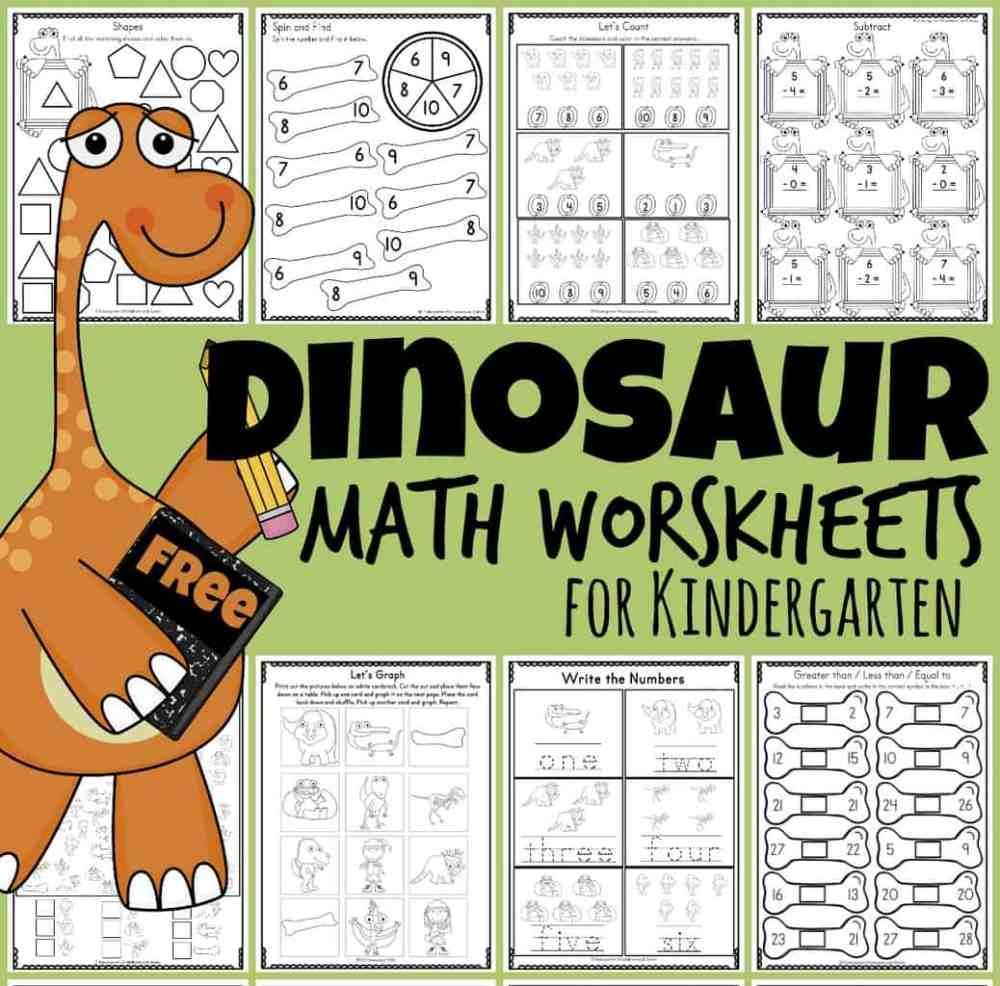 medium resolution of FREE Dinosaur Math Worksheets for Kindergartners