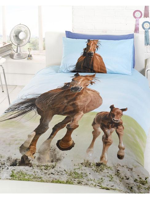 PAARDEN Dekbedovertrek  Eenpersoons paard en veulen set