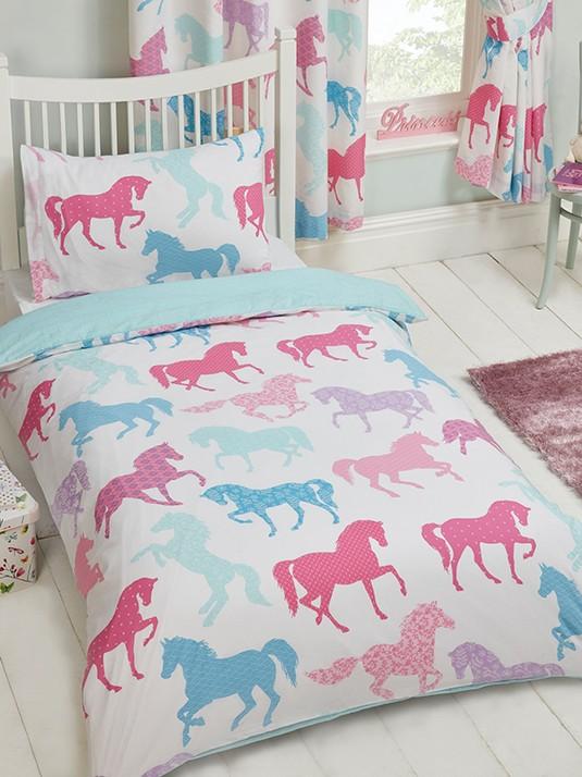 Paarden Dekbedovertrek Roze wit  Junior Peuter ponies