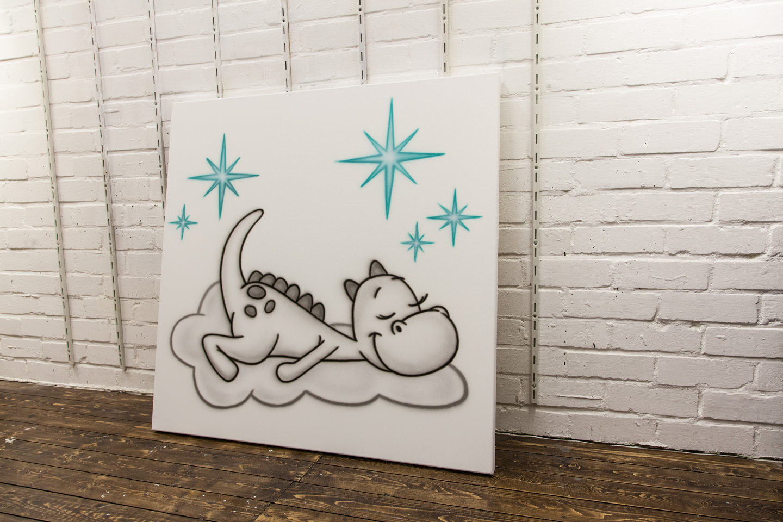schilderij babykamer draakje dirk