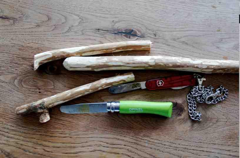 Hier ist alles was wir für die Winterzwerge brauchen: Taschenmesser und Haselnusszweige.Foto: (c) Kinderoutdoor.de