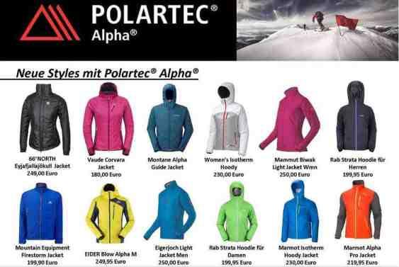 Polartec Alpha gibt es für den Winter bei einigen bekannten Herstellern von Outdoor Kleidung. Wir stellen Euch ein paar Top-Modelle vor. Foto: (c) Hersteller und Polartec