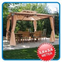 LUXUS Pavillon Gartenzelt Dark natural 3,6x3,6m NEU   eBay