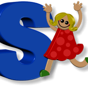 kid in front of letter S