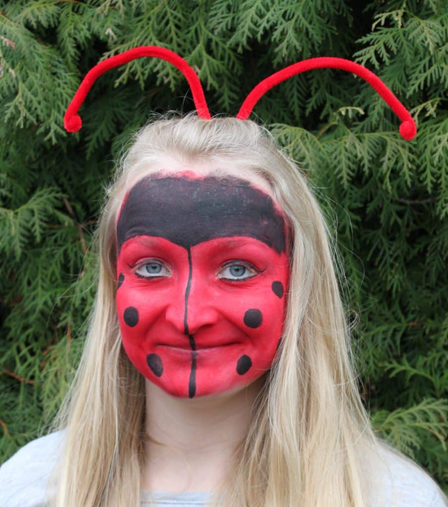 Marienkfer Kinder schminken zu Fasching Halloween und Festen