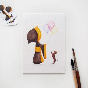 Münchner Kindl Postkarte – Hurra Luftballons