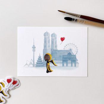 Postkarte – Ein Herz für München