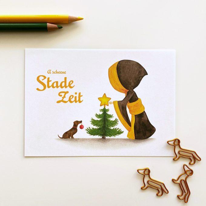 Münchner Kindl Weihnachtskarte – Christbaum